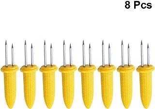 UPKOCH Tenedores de maíz de acero inoxidable Tenedores de maíz con mango de plástico Titular de
