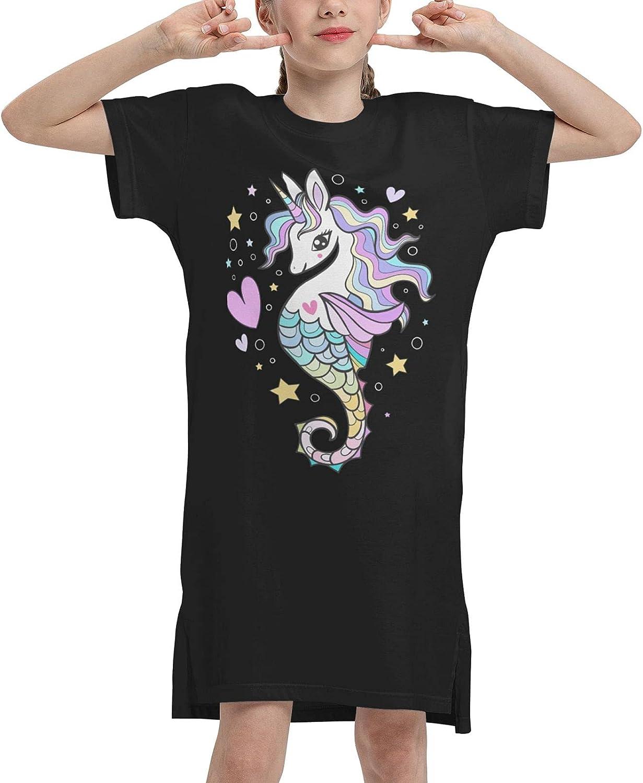 Seahorse Unicorn Summer Girls Dress Casual Cotton Short Sleeve Skirt Dresses for Girls Kids 7-12 Years