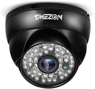 TMEZON 720P/1500TVL Black Dome Security Cameras HD IP66 48IR in/Outdoor Day/Night for Home Surveillance CCTV System 130ft ...