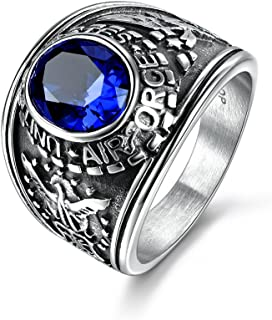 مجوهرات MASOP للرجال الفولاذ المقاوم للصدأ في الولايات المتحدة الأمريكية خاتم تحديد واسع من الياقوت الأزرق