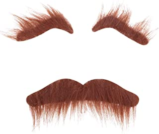 LERORO Novelty Costumes Self Adhesive Fake Eyebrows Beard Moustache Kit Facial Hair Cosplay Props Disguise Decoration for Masquerade Costume Party Halloween & Christmas (Brown)