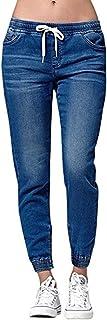 Ybenlover Pantalones vaqueros de cintura alta para mujer, rectos, estrechos, elásticos, largos, con goma elástica