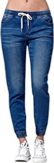 Womens Jogger Denim Pants Elastic Drawstring Waisted Stretchy Casual Blue Jeans