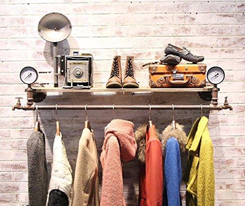 Industrielles Wandregal Kleiderständer Bekleidungsgeschäft Kleiderbügel Ausstellungsstand Retro alten Holz Wasserpfeife Regale Kleidung Rack Wand Kleiderbügel (Größe: 124 * 30cm) Wandregale