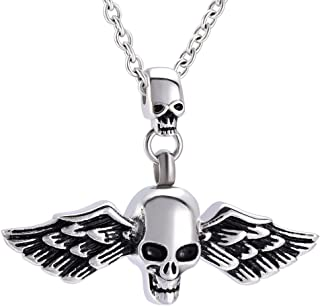 Cremation Jewelry - Skull Ashes Keepsake Stainless Steel Unisx Design Cremation Urn Necklace Memorial Jewelry for Love Ashes Locket & Free 20 Inches Chain