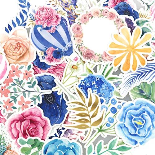 Lily おしゃれな美しい花と熱気球の防水ステッカー/人気かわいいスッテカー 子供 DIY 手作り 手帳シール 日記 ダイアリー カレンダー アルバム 家計簿(38 枚)