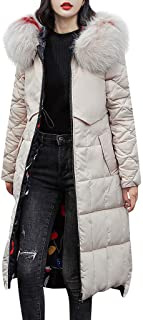 Women Down Jacket Long Parka Winter Warm Quilted Jacket Puffer Hooded Trench Coat Wear on Both Sides