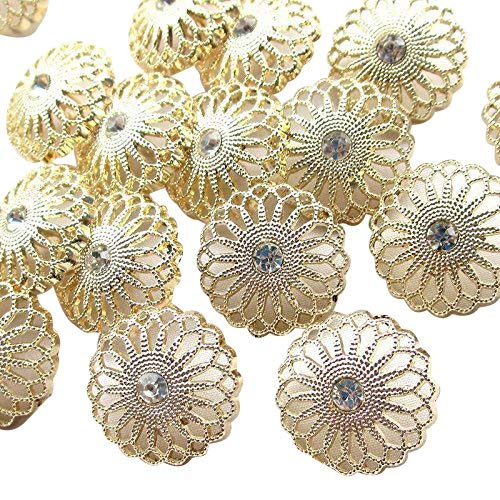 Chenkou Craft New 20pcs Gold Alloy Rhinestone Crytal Hollow Clothes Buttons 25mm Sewing Craft Lots