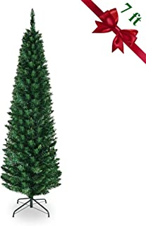 Cchainway 7FT Artificial Pencil Christmas Tree, 700 Branch Tips, Premium PVC Needles, Slim Tree w/Sturdy Metal Stand for Indoor and Outdoor (Green, 7 FT)
