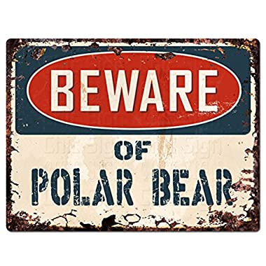 Beware of POLAR BEAR Chic Sign Vintage Retro Rustic 9 x 12  Metal Plate Store Home Room Wall Decor Gift