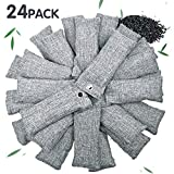 Vitscan 24 Pack Bamboo Charcoal Purifying Bag for Shoes, Natural Purifying Bags, Activated Charcoal Odor Eliminators, Home and Car Purifier, Closet Freshener, Odor Eliminating Charcoal Bags