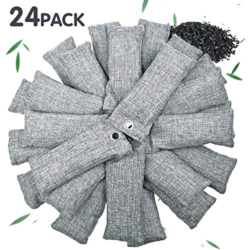 24 Pack Bamboo Charcoal Air Purifying Bag for Shoes, Natural Air Purifying Bags, Activated Charcoal Odor Eliminators, Home and Car Air Purifier, Closet Freshener,  Odor Eliminating Charcoal Bags