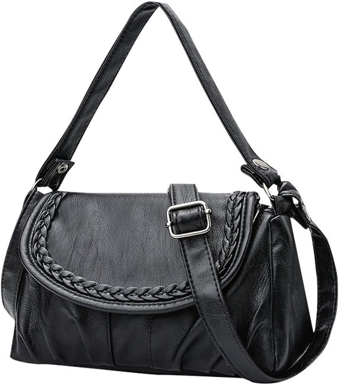 New Ladies Woven Bag Leather Handbags Purse Shoulder Bags Totes Messenger Bag Black24cmx9cmx15cm,Black