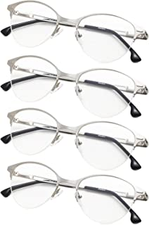 4-Pack Half-Rim Cat-eye Style Reading Glasses with Spring Hinges for Women and Men Readers