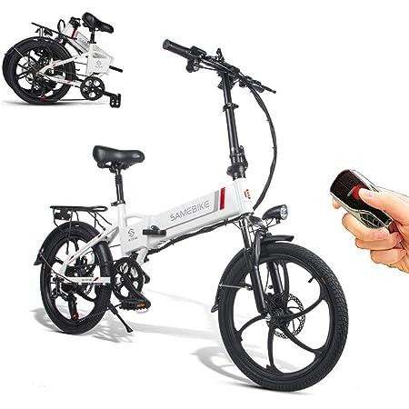 SAMEBIKE Bicicleta eléctrica 48V 10.4AH Batería de Litio con Control Remoto Bicicleta eléctrica Plegable para Adultos
