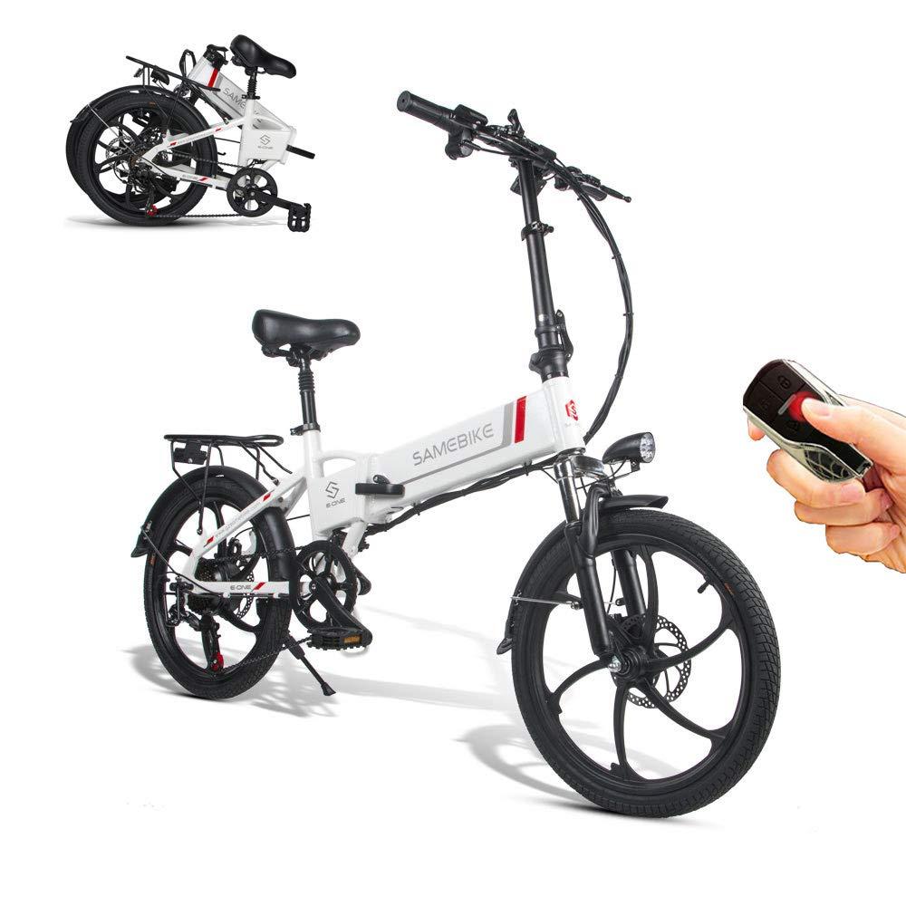 SAMEBIKE Bicicleta eléctrica 48V 10.4AH Batería de Litio con Control Remoto Bicicleta eléctrica Plegable para Adultos (Blanco): Amazon.es: Deportes y aire libre