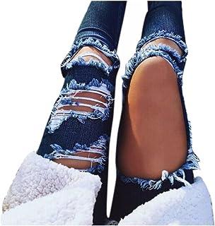 4472923d0e1738 VENMO Destroyed Jeanshose Mittlere Taille Jeans Frauen lässig Blaue Kratzer  Loch zerrissen Hosen Denim Hose Slim