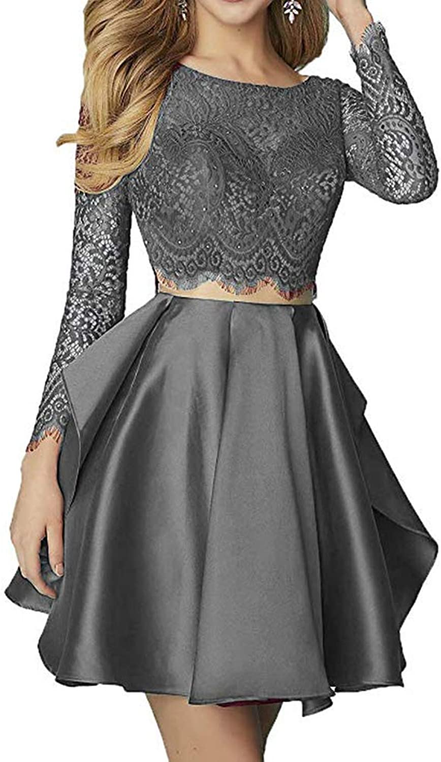 XSWPL Women's Satin Long Sleeve Short Prom Homecoming Dresses Two Piece Prom Party Gown