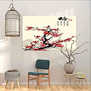 DuckBaby Abstract Painting Cherry Sakura Tree Branch in Blossom and far Blue Mountains on Rice Paper Background. Traditional Oriental Ink Painting Home and Everything W24 xL20