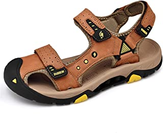 Men Sandals Comfortable Breathable Outdoor Athletic Sandals for Men PU Leather Summer Beach Shoes Anti-Slip Flat Waterproo...
