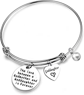 SEIRAA Goddaughter Gift The Love Between a Godmother and Goddaughter is Forever Bracelet First Communion Gift