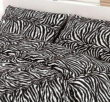 L'EMPORIO CASA Juego completo de sábanas con estampado de leopardo - cebra para cama de matrimonio - Sábana muy suave 100% algodón italiano (cebrata)