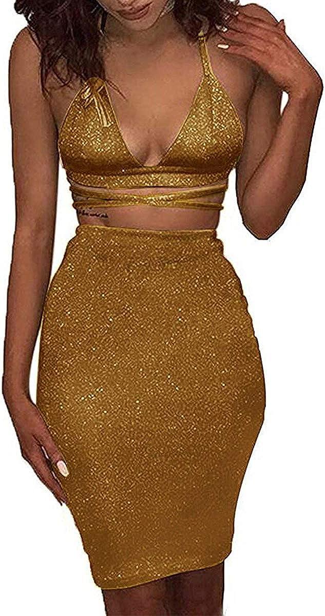 ioiom Women's Glitter V Neck Halter Backless Sleeveless Bandage Bodycon Midi Dress