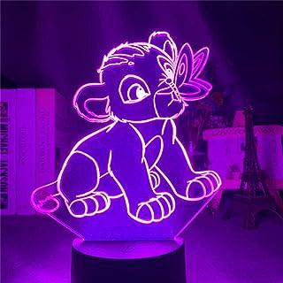 El Rey León Joven Simba Jugando Escenas LED Luz de Noche para Niños Disney 3D Lámpara de Mesa para Decoración de Dormitorio Regalos
