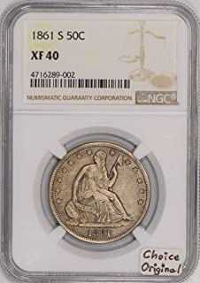 1861 S Seated Liberty New Early Die State WB-9 Half Dollar XF-40 NGC