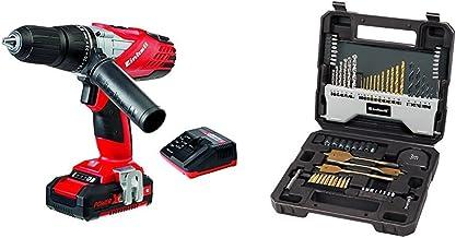 Einhell - Taladro percutor sin cable Expert TE-CD 18-2 Li-I (batería de litio, 1.5 Ah, incluye maletín Bmc, 2 velocidades, 48 Nm, Power X-Change, luz LED, 18 V) + Set de 70 brocas 4258085 con maletín