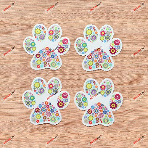 Dog Paw Print Track K9 Unit Vinyl Decal Sticker Floral Flowers - 4 Pack Reflective, 3 Inches - for Car Boat Laptop Cup Phone