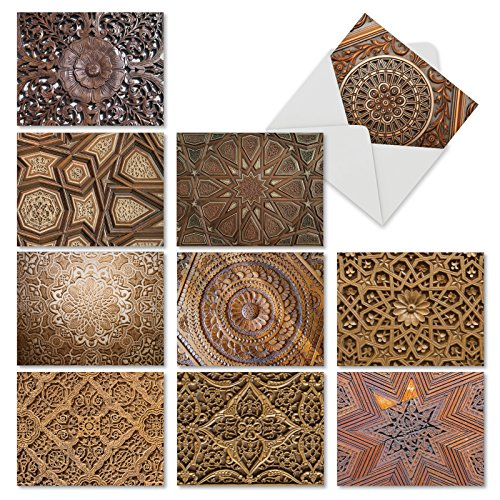 """'Woodworks' All Occasion Note Cards (Box of 10), Assorted Blank Greeting Cards with Envelopes, Elaborate Wood Carvings Stationery for Weddings, Sympathy, Thank You (Mini 4"""" x 5 ¼"""") #M6459OCB"""