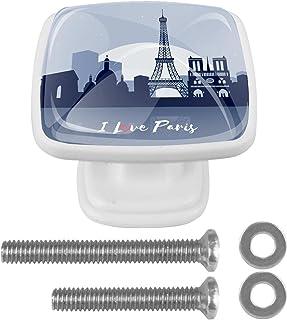 Paquet de 4 boutons d'armoire de cuisine, boutons pour tiroirs de commode J'aime la tour eiffel paris Tire les poignées de...