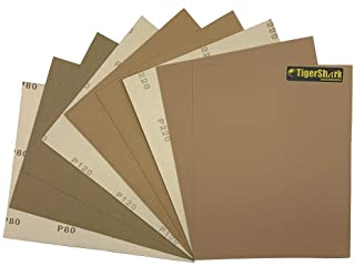 TigerShark Hook and loop Back Sanding Sheets 9 inch by 11 inch Grit 80/120/220 9pcs Pack Paper Gold Line Special Anti Clog...
