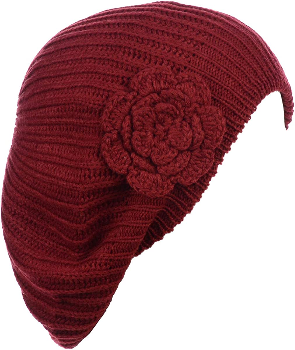 an - Womens Fall Winter Ribbed Knit Beret Double Layers with Flower