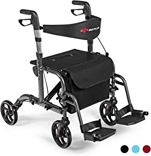 GOPLUS 2 in 1 Folding Rollator Walker, 4 Wheel Medical Rolling Walker with Adjustable Handle and Carry Bag for Adult, Senior, Elderly & Handicap, Aluminum Transport Chair Mobility Rollator (Black)