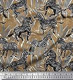 Soimoi Braun Seide Stoff Blätter, und Zebra Tier Stoff