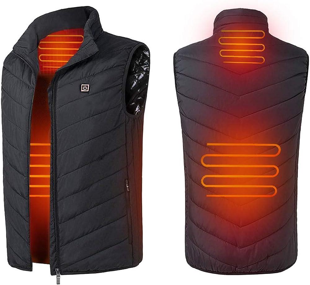 Letsfree Men's Lightweight Insulated Electric Heated Vest Adjustable USB Sports Waistcoat Vest