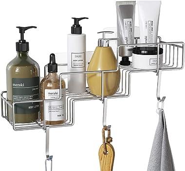 FANHAO - Cesta de regadera con ganchos para champú, acondicionador   Estante de baño, organizador de almacenamiento, adhesivo