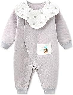 طفل بنين فتاة أزرار رومبر القطن الخالص ارتداءها قطعة واحدة بذلة مع مجموعة مريلة القابلة للإزالة (Color : Gray, Size : 73CM)