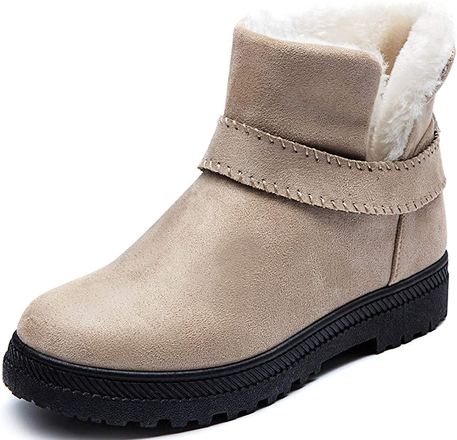 XIANV Women High Top Suede Waterproof Winter Snow Boots Slip-on Cotton Lined shoes