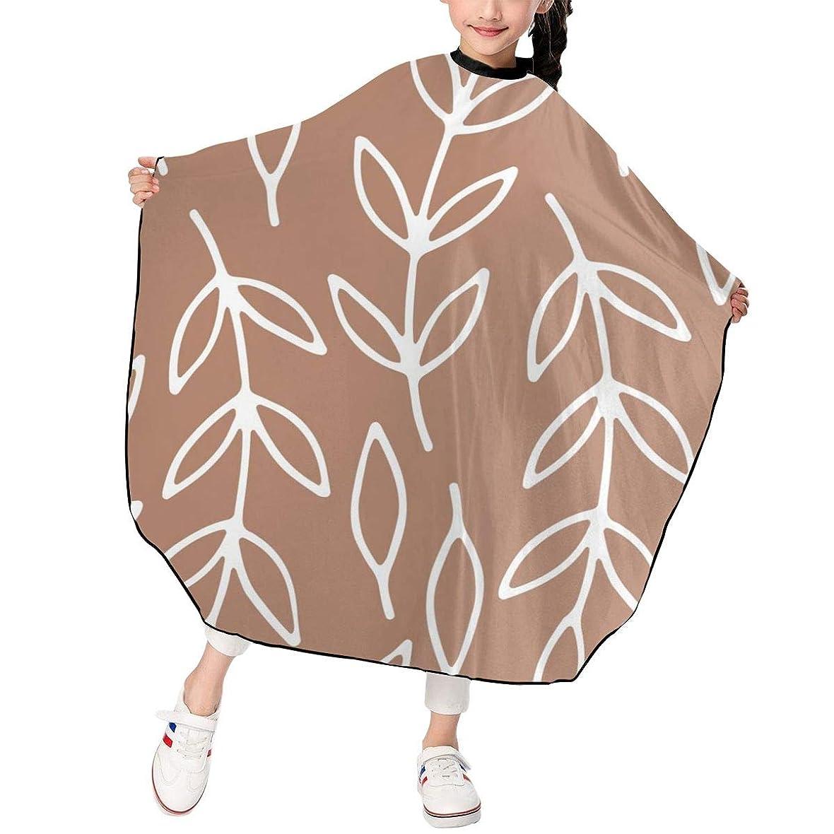 確率ベリーできればHJM-LFWQ カットケープ 散髪ケープ カットクロス スタイリング 葉 紋様 植物柄 スモック カバー ヘアカットケープ 刈布 美容室 理容室 折りたたみ式 子供用 家庭用 理髪店向け 120*100cm