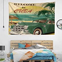 HuaWuChou Cuba Beach Ocean Palm Tapestry, Wall Hanging Decor Decoration Beach Blanket Dorm Room Bed Sheets, 59W x 51.1L Inches