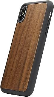UTECTION Funda Cover de Madera para iPhone X/XS - 100% Eco Madera Genuina - Ultra Delgada - Ajuste Wood-Case Walnut por Apple iPhone 10