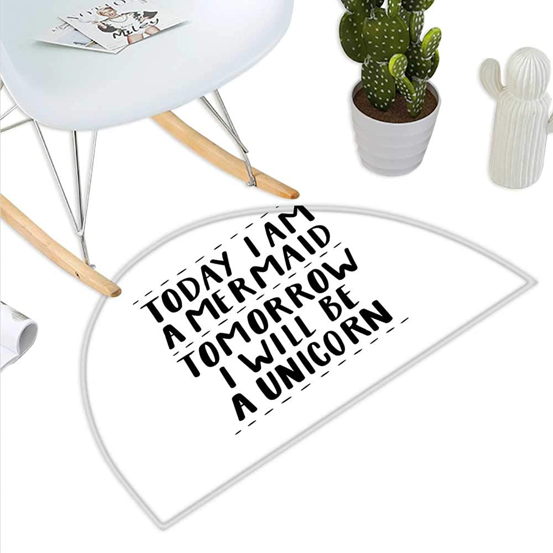 Im Mermaid Semicircle Doormat Quote in Favor of Optimistic Outlook Towards Life Changing Attitudes Slogan Halfmoon doormats H 27.5  xD 41.3  Black White