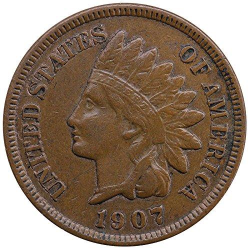 1907 U.S. Indian Head Cent Full LIBERTY Full Rim 1c Fine to XF