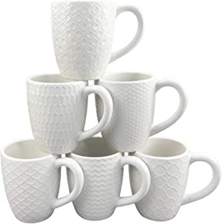 Schliersee White Ceramic Coffee Mugs set of 6, Stylish Embossed Coffee Cups Set with Different Patterns, for Coffee, Tea, ...