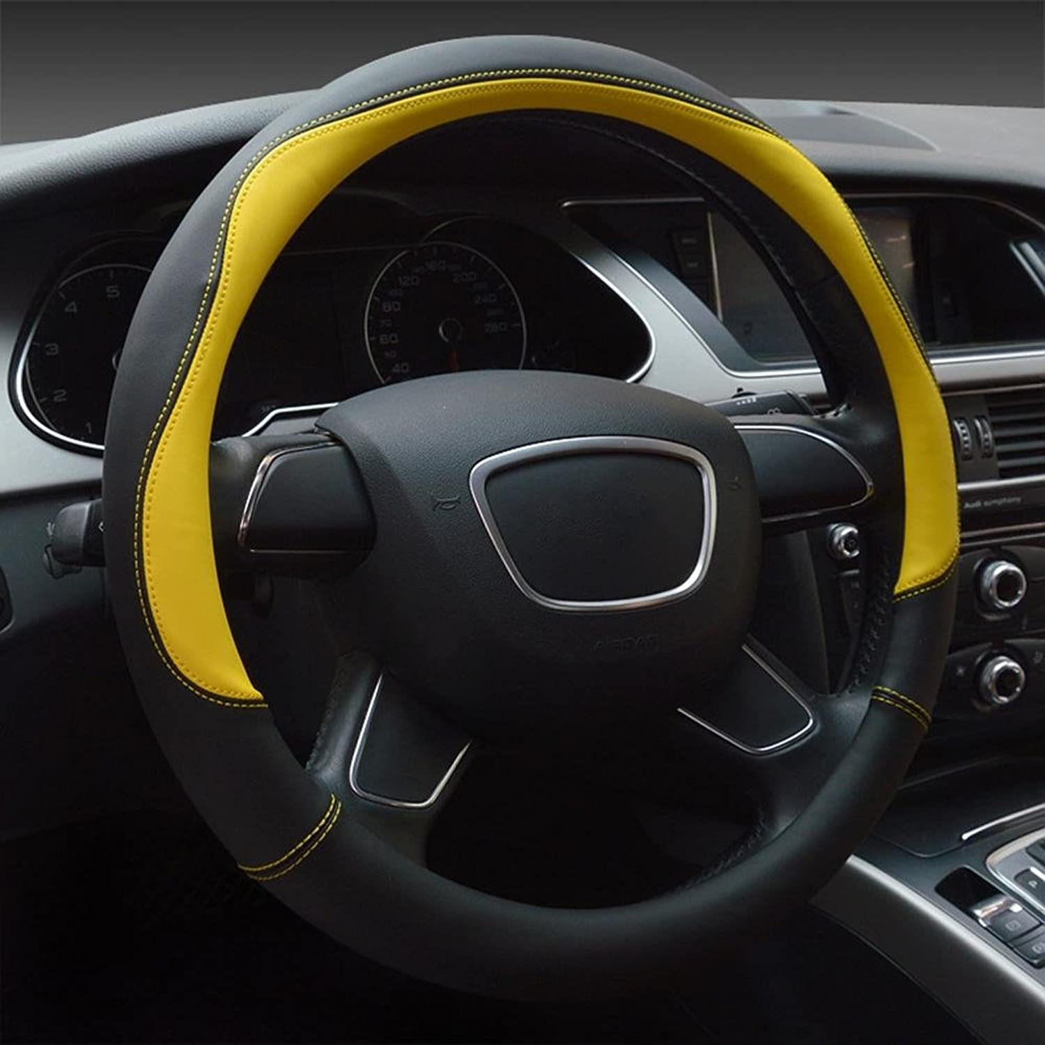Auto Accessories 2018 New Car Steering Wheel Cover Microfiber Leather Universal, Yellow, 38cm