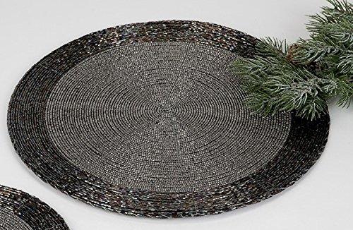 Formano 2er Set Untersetzer 30 cm - Perlen schwarz Silber irisierend mit Kratzschutz