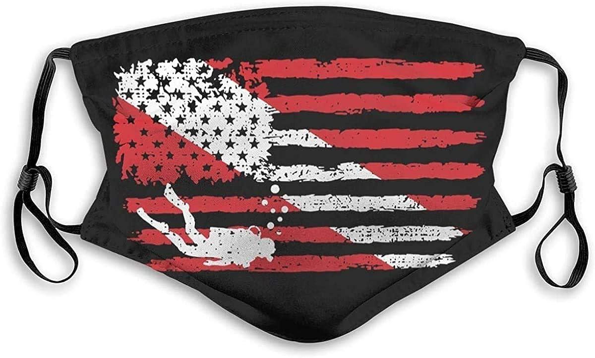 Buff Vintage American Diver Down Flag USA Scuba Diving Dive Flag Face Mask with Filter Adjustable Washable Bandana Protection Balaclava for Men Women Black